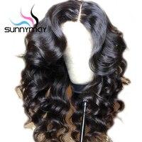 Sunnymay 13x6 Синтетические волосы на кружеве парик с волосами младенца 180% свободная волна парики предварительно сорвал Синтетические волосы на