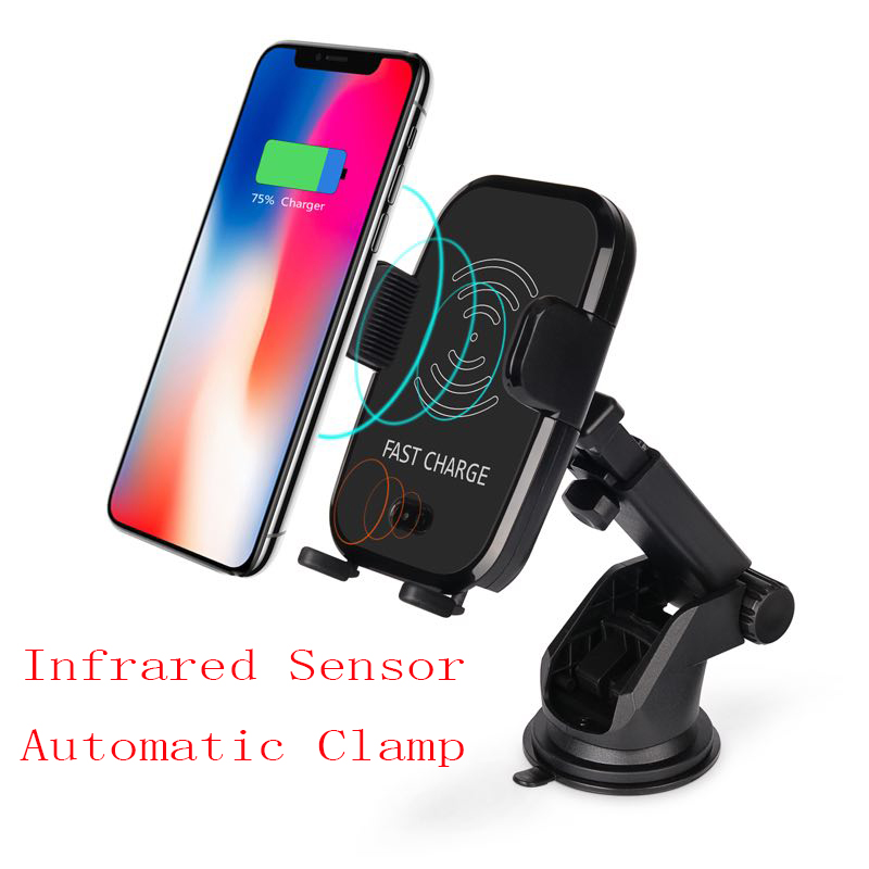 Car Mount Qi fast Wireless Car Charger for iPhone X 8 Plus Wireless Charging Pad Car Holder Stand for Samsung S8 S9 fast charger