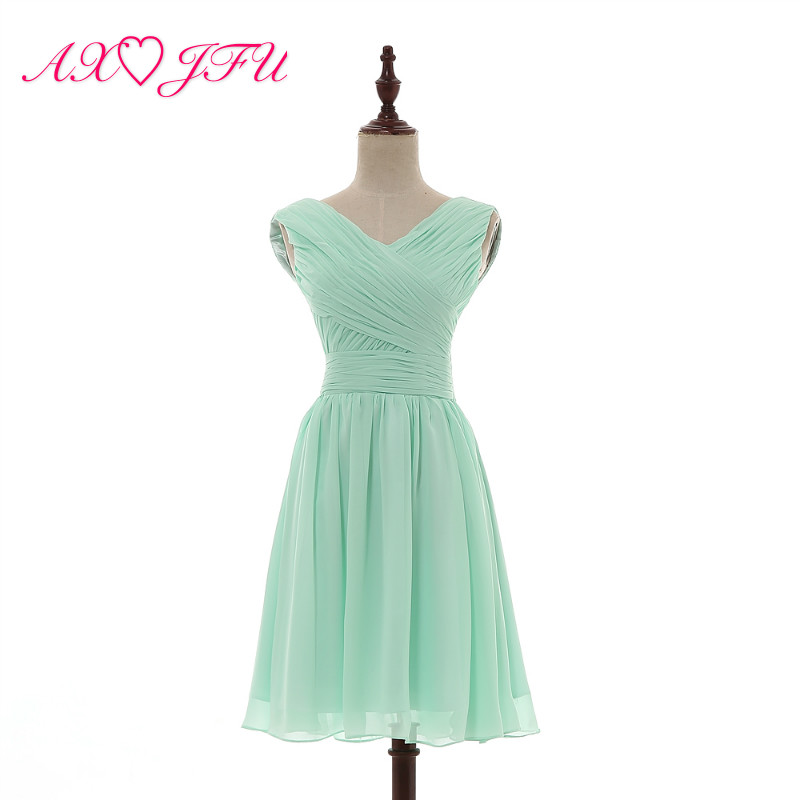 AXJFU Pleated Chiffon Bridesmaid Dresses Mint Green Princess Green V Neck Sleeveless Short Bridesmaid Dresses 100% Real Pictures