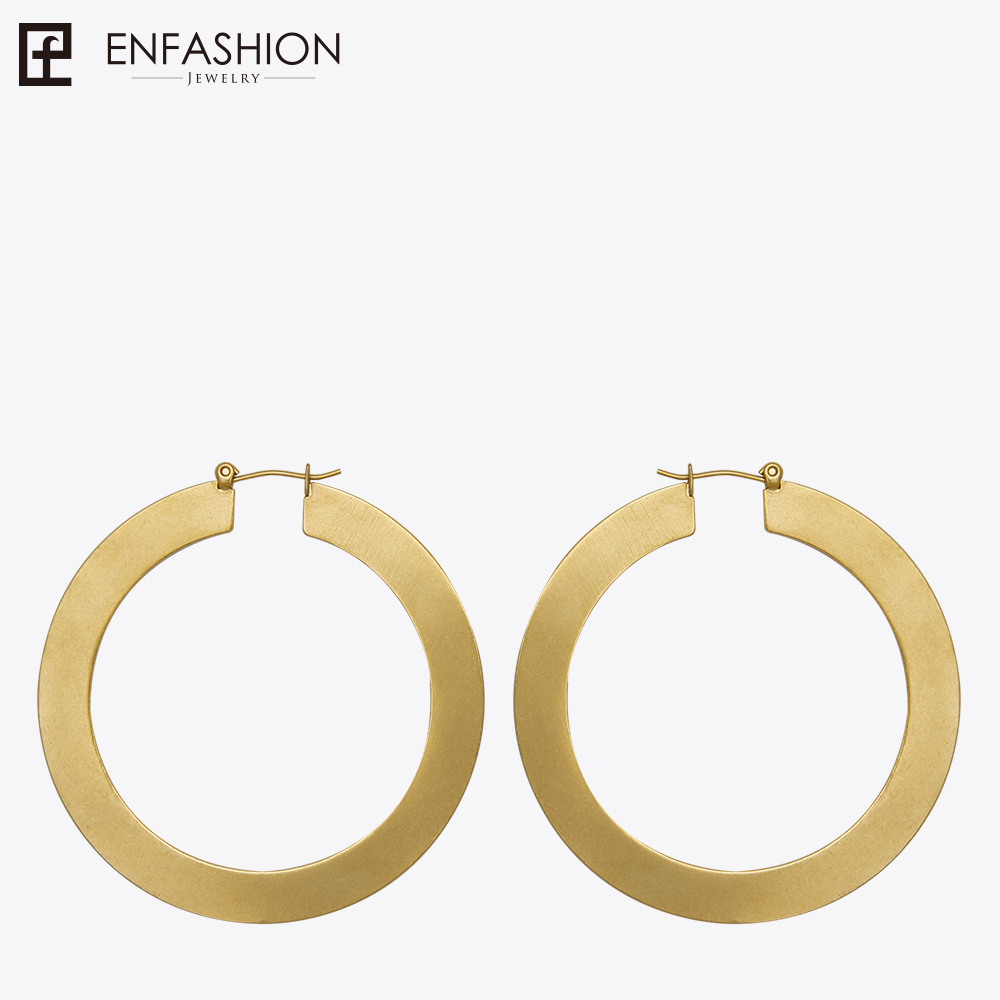 Enfashion Vintage Besar Hoop Earrings Matte Emas warna Earings Stainless Steel Anting Lingkaran Untuk Wanita Perhiasan oorbellen