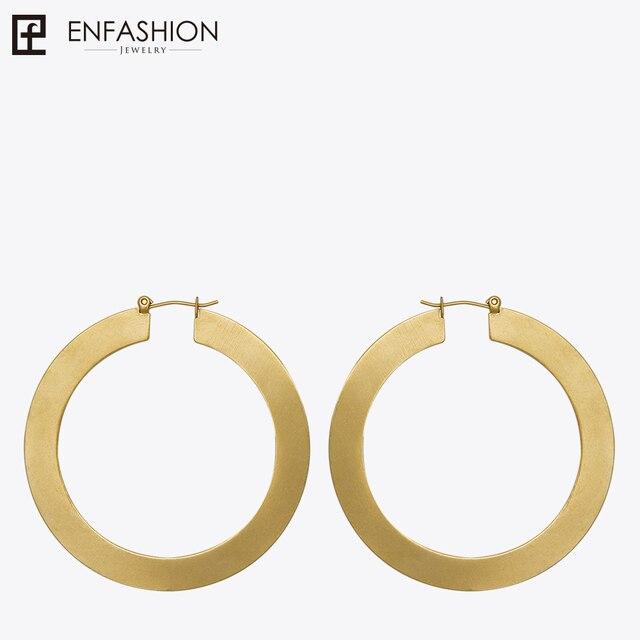 Enfashion Vintage Large Hoop Earrings Matte Gold color Earings Stainless Steel C