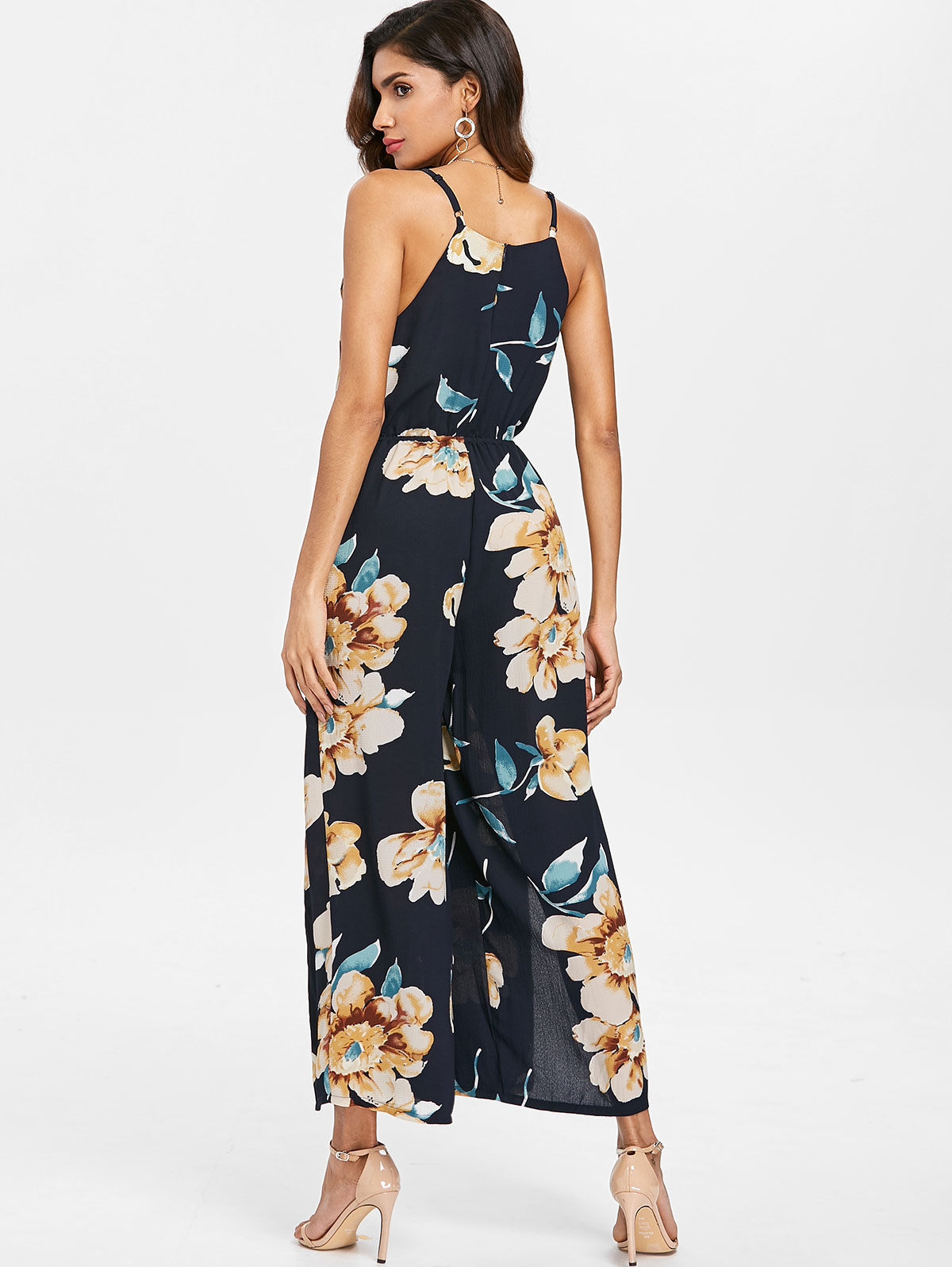 AZULINA Front Slit Floral Print Jumpsuit Summer Boho Beach Women Rompers Long Overalls Bohemian Causal Ladies Clothes Jumpsuits