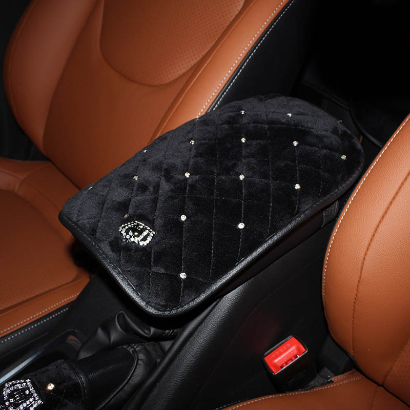 Crown-Crystal-Plush-Car-Armrests-Cover-Pad-Universal-Vehicle-Center-Console-Black-Arm-Rest-Seat-Box-1