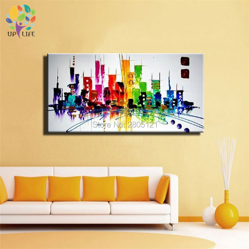 New York City Picture Canvas Painting Modern Wall Art: The Rainbow City NEW YORK ! Hand Painted Modern Abstract