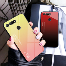 Gradient Tempered Glass Phone Case For Huawei Honor V20 Luxury Colorful Cover V 20 Shell Coque Capa