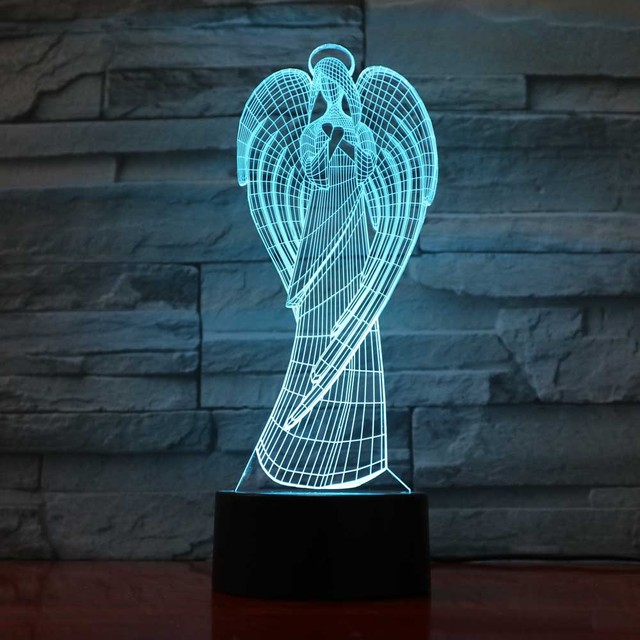 Creative 3D NightLight Led Colorful Wings Girl Shape Home Office Atmosphere  Decor Angel Table Lamp Virgin 65bad37cdf67