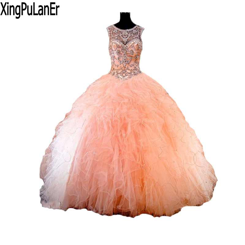 New Listing Scoop Neck Ball Gowns Peach Ruffles Organza Quinceanera ...