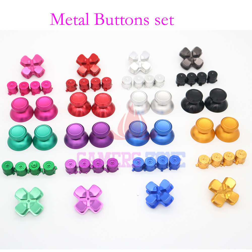 For PS4 Aluminium Metal D PAD Analogue Bullet Buttons For PS 4 Controller Thumbsticks Replacement Chrome