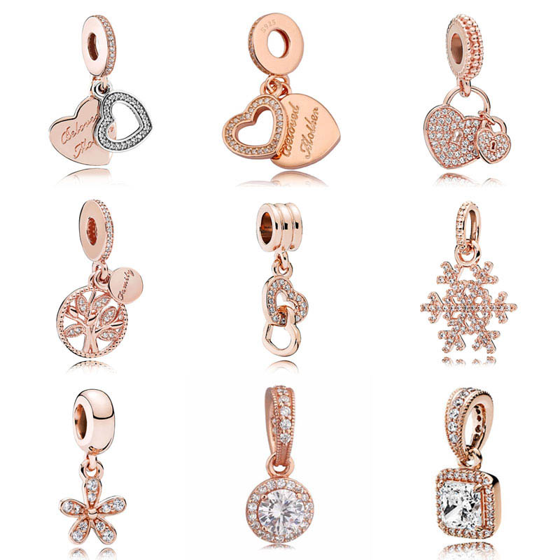 Rose Gold Pendant Pave Beloved Mother Family Heritage Crystal Dangle bead Fit Pandora Bracelet 925 Sterling Silver Charm Jewelry
