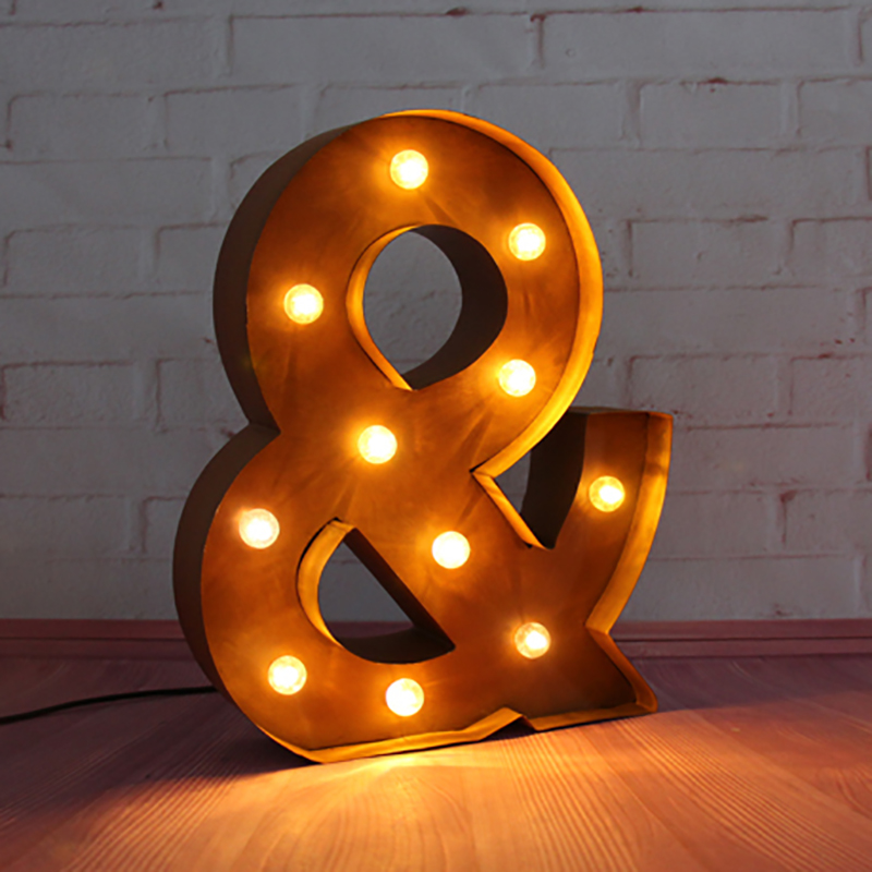 цена  Ampersand & LED Marquee Sign LIGHT UP  Vintage metal signs light holiday  Indoor Deration customize order  онлайн в 2017 году