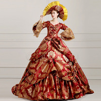 Luxury Jacquard 7 18th Century European Court Marie Antoinette Baroque Rococo Gown Dress Stage Party Costumes