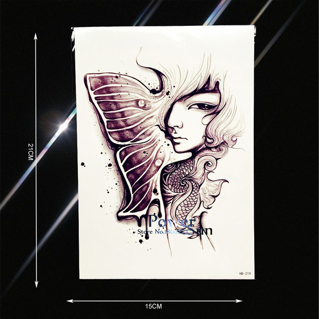 33cb8c0cea0fd Melancholy Girl Butterfly Angel Fairy Tattoo Fake Watercolor Arm Tatoo  Decals Waterproof Body Art Temporary Tattoo