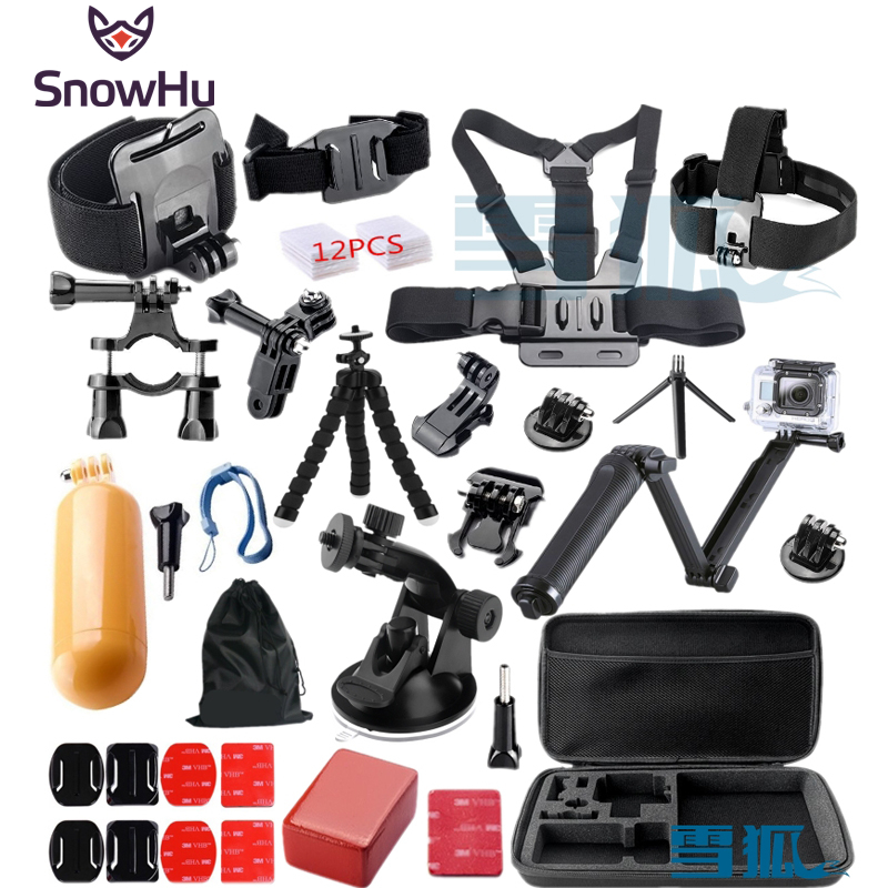 SnowHu for Gopro Hero 5 3-way Tripod Monopod kit mount for gopro hero 5 4 3 Black Edition For SJCAM for xiaoyi chest tripod GS46 miniisw m ac universal curved surface mount kit for gopro hero 4 3 3 hero2 hero sj4000 black