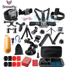 SnowHu for Gopro Hero 5 3-way Tripod Monopod kit mount gopro hero 4 3 Black Edition For SJCAM xiaoyi chest tripod GS46