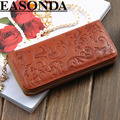 Brand Fashion Genuine Leather Women Purse Long Rose Embossed Zipper Cowhide Wallets Bags Bayan Cuzdan Handbags Carteira Feminina