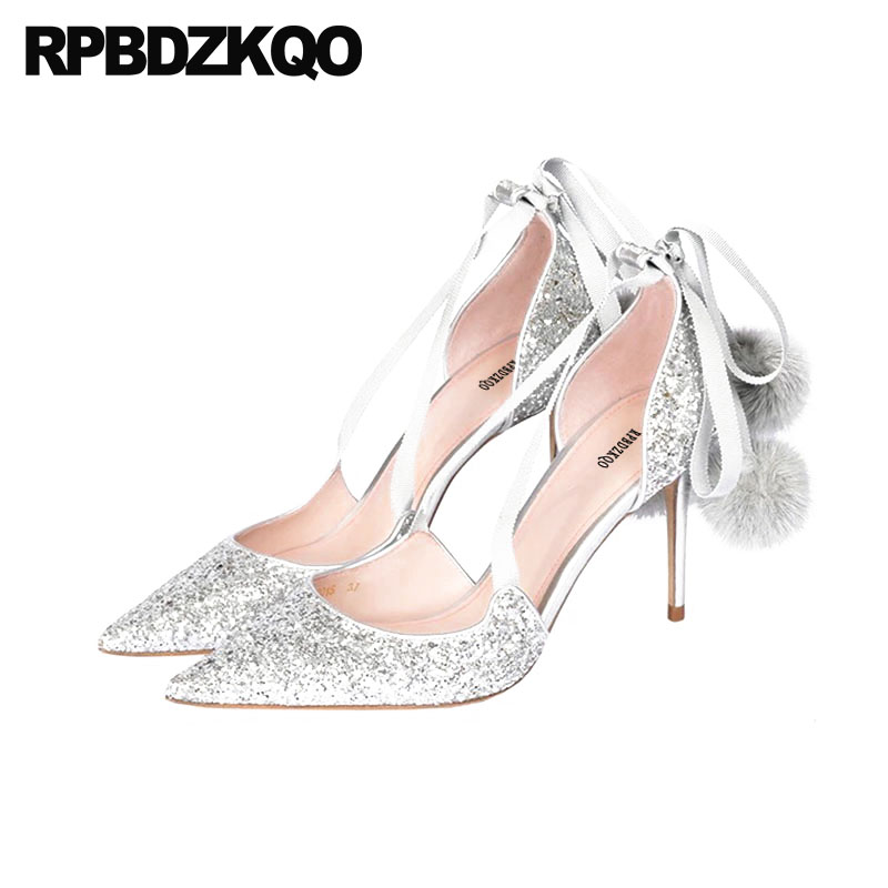 Ankle Strap Wedding Pumps Women Glitter Shoes Stiletto Tie Up Cross Pom Poms Silver High Heels Sandals Pointed Toe Cinderella