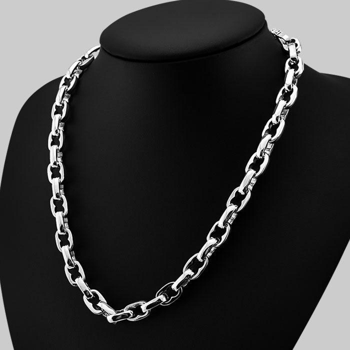 American hiphop style silver jewelry 925 sterling silver solid silver chain necklace with 9mm width men's bijoux Free shipping