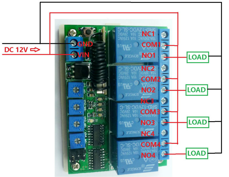 433.92M DC 12V 4Ch Multifunction Wireless Controller Timer Delay ...