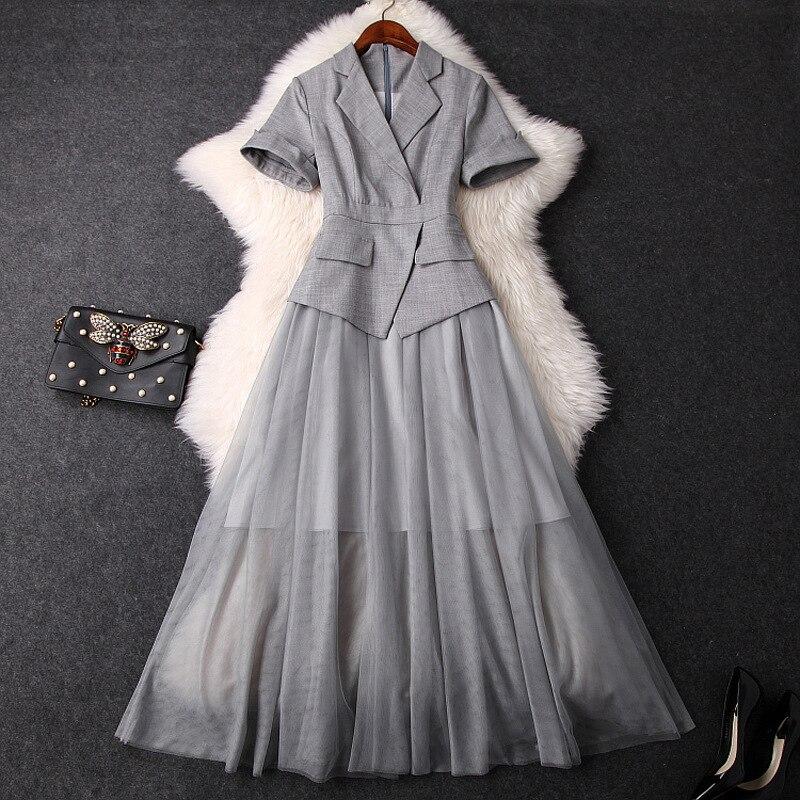 Femmes élégant gris blazer robe à manches courtes patchwork maille longues robes nouveau 2019 été bureau vêtement pour femme
