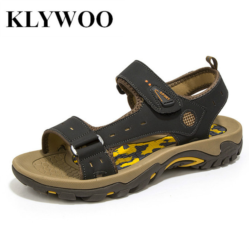 2016 Fashion Men Outdoor Sandals Slides Shoes Breathable Rubber Sole Leather  Cowhide Casual Summer Beach Slippers Shoes Men d95bb47bf20a