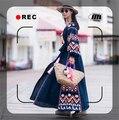 Boho Платье Осень V-образным Вырезом Сексуальное Платье С Длинным Рукавом Вышивка Длинное Платье Кисточкой Синий и Красный Платье Женщина