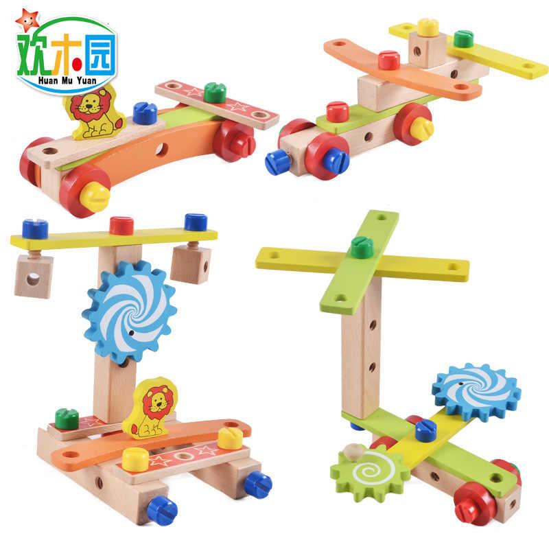 Crianças cadeira de Multi-funcional Cadeira Combinação de ferramentas de Desmontagem porca combinação de Blocos de madeira educacionais brinquedos de madeira Montessori
