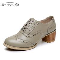 Zapatos de mujer de cuero genuino grande tamaño EE.UU. 9 de diseño vintage tacones altos bombas de punta redonda hecha a mano gris 2017 sping con de piel
