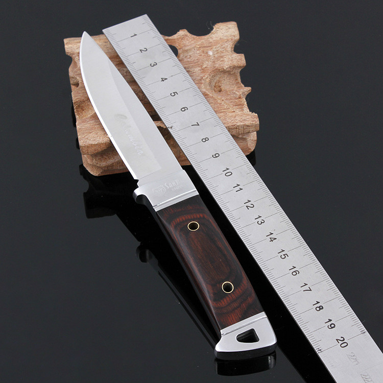 Stainless Steel Fixed Blade font b Tactical b font Hunting font b Knife b font Wood