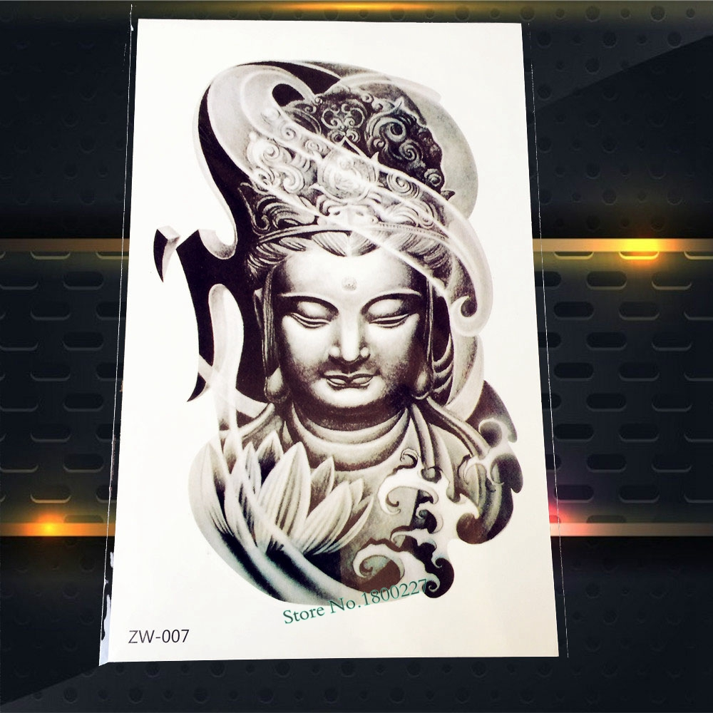 1PC Popular Women Buddha Tattoo Sleeve Decals Waterproof Body Arm Art Temporary Tattoo Sticker For Men Women Tatoo Armband PZW07