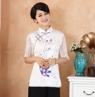 Summer White Chinese Women's Lace Cotton Blouse Embroidered Flower Shirt Top Mandarin Collar Blouse Size S M L XL XXL XXXL 2339