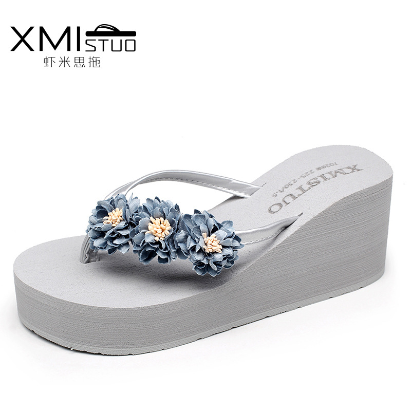 Brand 2018 Summer Women Fashion Flower Platform Flip Flops Plus Size Casual High Heels Beach Slipper Outdoor Slide Jelly Shoes shoulder cut plus size flower blouse