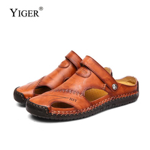 YIGER New Men sandals slippers summer large size genuine leather man casual male leisure slip-on slipper peas shoes  276