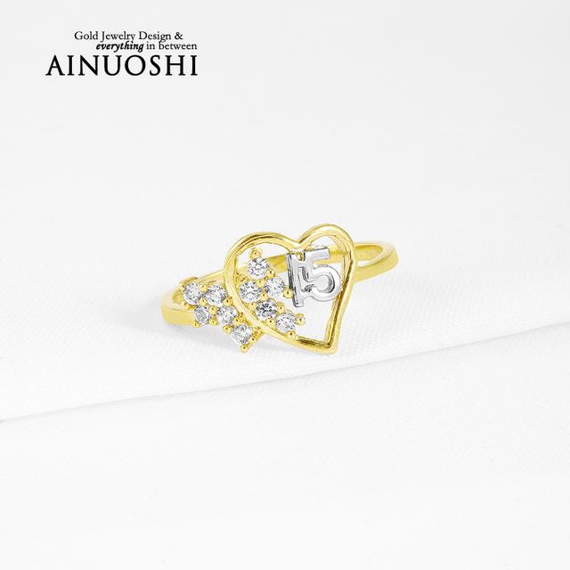 Ainuoshi 10 k sólido oro amarillo anillo de compromiso de las mujeres amantes de la forma del corazón de la joyería aniversario promesa sona diamante simulado anillo