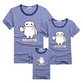 New Big Hero Blue Stripe T-shirt Clothes For Matching Family Matching Outfit T-shirt Mother Father Son Daughter 2017 T-shirts