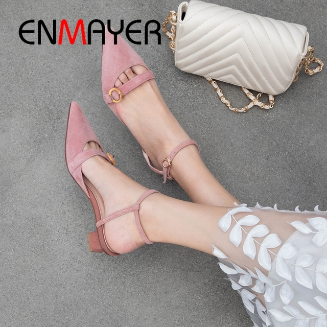 ENMAYER 2019 Women Med High Fashion Pumps  Basic  Kid Suede  Pointed Toe  Women Heels  Casual  Buckle Strap Size 34-40 LY2064