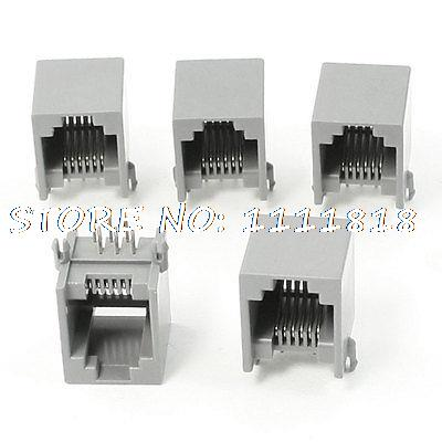1a1d09d38 5 قطع 90 درجة دفع في نوع RJ12 6P6C شبكة PCB الرافعات موصل أسود رمادي