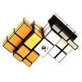 CubeTwist Siameses Siameses Doble Espejo 3x3x3 Cubo Mágico Bump Cubo Juguetes Educativos Para Niños-plata/Oro