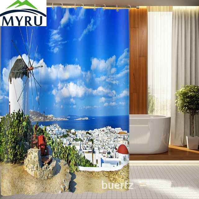 MYRU 3D Greek Aegean Sea Shower Curtain Custom Printed 3d Waterproof For Bathroom