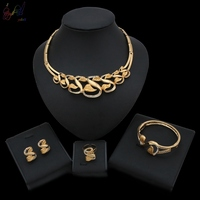 Yulaili 2019 New Ethiopian Gold color Necklaces Bracelet Earrings Ring Wedding Bridal Jewelry Set for India Women Gift