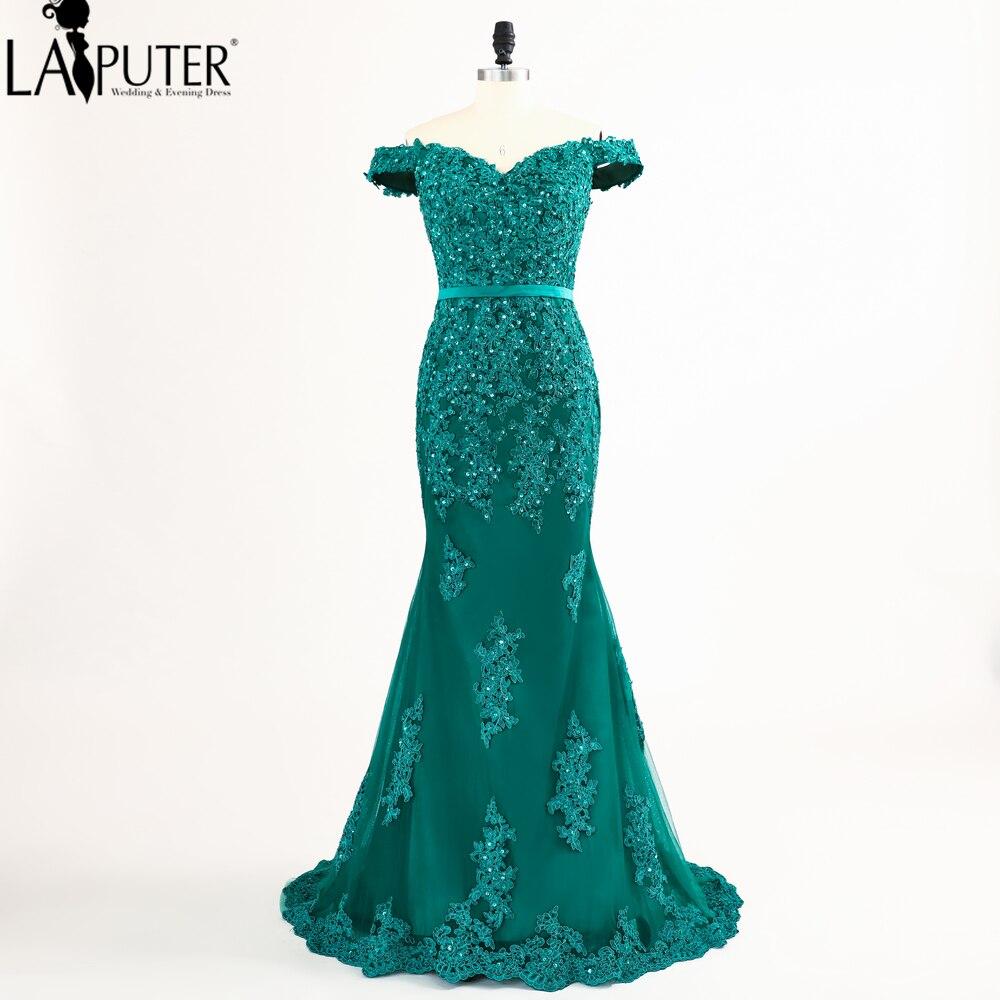 3b2936657f8 Laiputer Русалка с плеча кружева и аппликацией зеленые вечерние платья