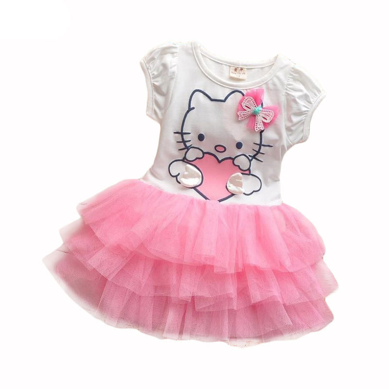 Baby Girls Cartoon Dress Hello Kitty Girls Dresses Kids Princess Clothing Girl Clothes Robe Enfant Cloth Children Party Clothes