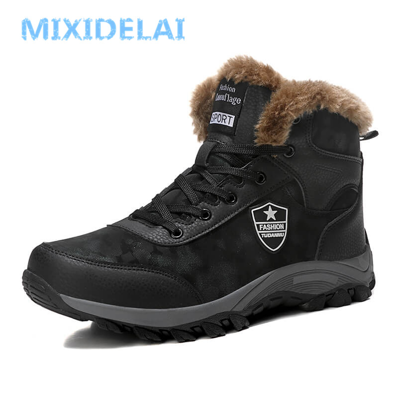 MIXIDELAI 2018 New Men Boots Winter Outdoor Sneakers Mens Snow Boots Waterproof Warm Plush Boots Snow Ankle Boots Big Size 39-46