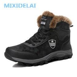 Mixidelai 2019 novos homens botas de inverno ao ar livre tênis botas de neve dos homens à prova dwaterproof água quente botas de pelúcia botas de neve tornozelo tamanho grande 39-46
