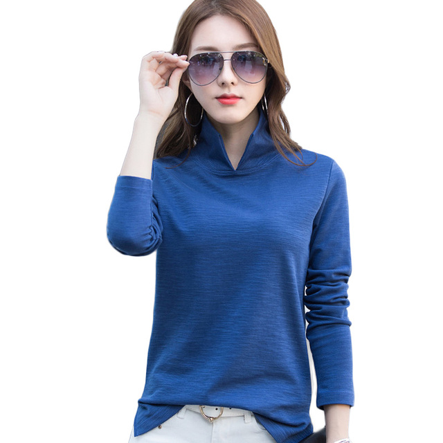 New Casual Polo Shirt Women 2018 Winter Autumn Long Sleeve Shirts Black  White Blue Plus Size Tops For Lady Polos Shirt Femme 589dadd0ba