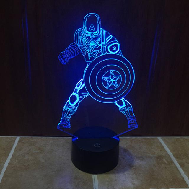 Enfriar Marvel Capitán América Guerra Civil Luz Lámpara de Gradiente de Colores 3D De Construcción Illusion con Botón Táctil de Acrílico Luz del estado de Ánimo
