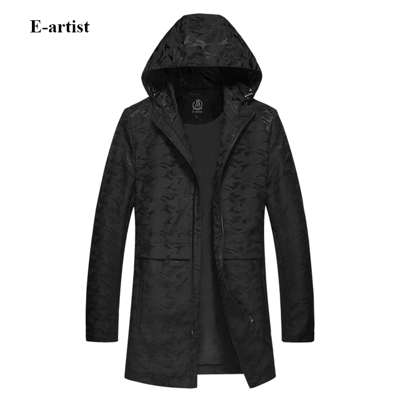 E-artist Mens Long Hooded Camouflage Trench Coats Spring Autumn Outwear Overcoats Male Slim Fit Casual Zipper Windbreaker F26