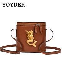 Fasion Mermaid Metal Bucket Bag Women Clutch Mini Shoulder Bag Zipper Messenger Bags Crossbody Bag For