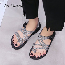 Women Bohemia Sandals Ethnic Style Sandals  Gladiator Flats Shoes Buck