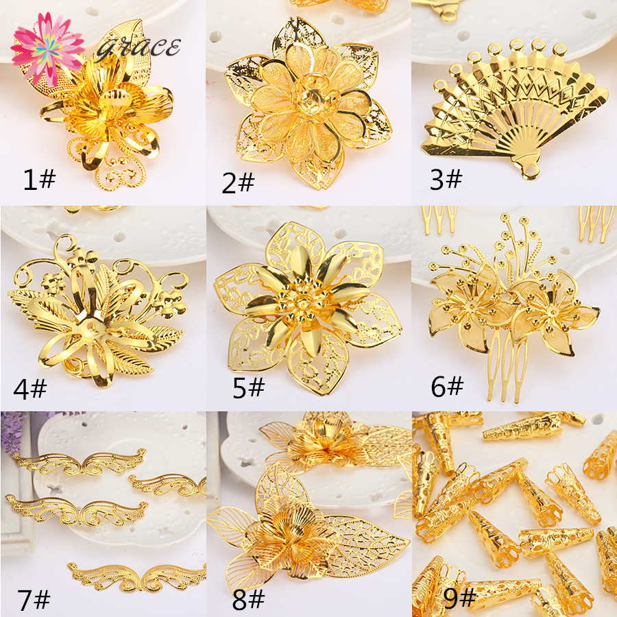 5pc/lot Vintage Metal Filigree Wrap Connectors Flower Fan Findings Charms Gold Plated For Hair Jewelry Diy Accessories Materials