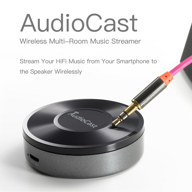Nuevo M5 AudioCast WIFI Receptor 3.5mm 2.4G WIFI Airplay DLNA IOS Android Altavoz Audio de ALTA FIDELIDAD de Música Spotify Inalámbrica sonido Streamer
